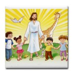 jesus_and_children_tile_coaster